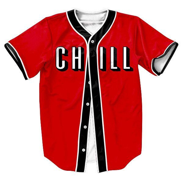 Men's Baseball-Style 3D CHILL Print Jersey S-3XL