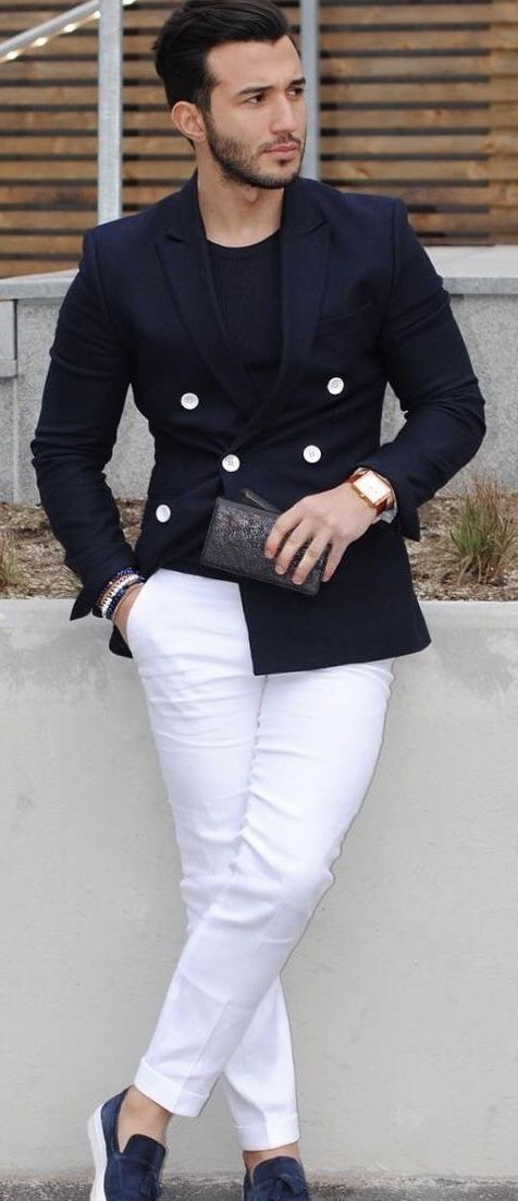 94d6fa28ae  umitobeyd - with a business casual combo featuring a navy t-shirt navy  double breasted blazer white trousers watch brown loafers no show socks ...