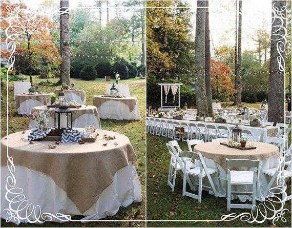 Burlap Tablecloth  Wedding Tablecloth  68 x by AJRUSTICCREATIONS
