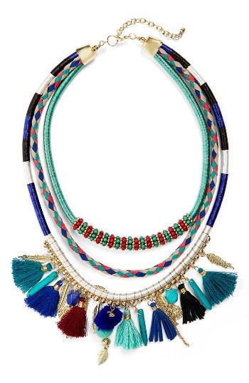 Free shipping and returns on Panacea Multistrand Tassel Necklace at Nordstrom.com. Color-pop pompoms and tassels, 14-karat gold-plated hamsa, leaf and feather charms, bright cording and shiny metallic beads all combine to delightfully eclectic effect on a multistrand statement necklace.