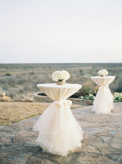 white tulle wedding tables