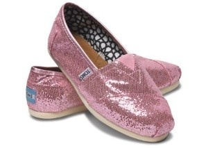 pink sparkle toms.  TOMS are my wedding shooting shoes! :)