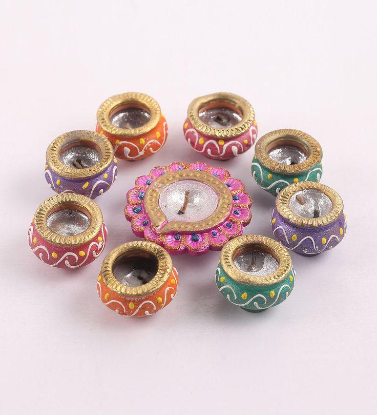 Buy Decardo Multicolour Clay Fancy Diwali Diya - Set of 9 Online: Shop from…
