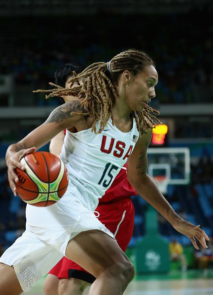 Brittney Griner of United States drives to the basket during the Women's…