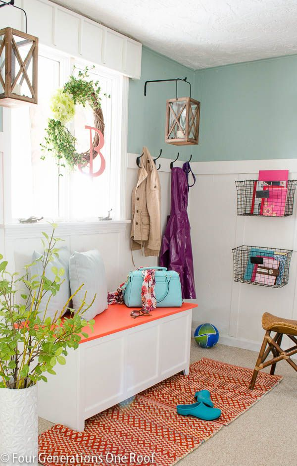 Our spring mudroom wall makeover @Home Depot #brightideas