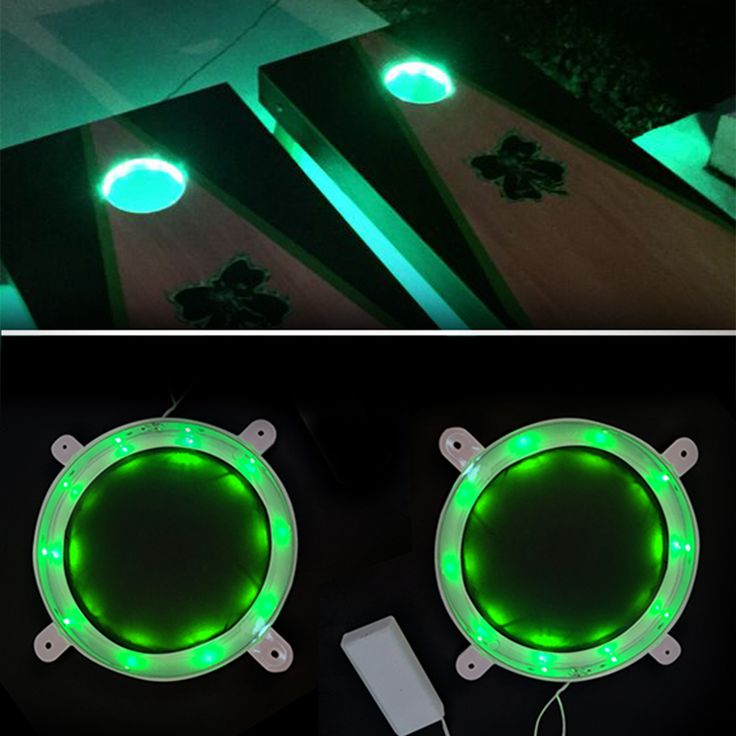 Material: Plastic; Diameter: 6 inch; Battery: 9V (not included); Gross weight: 10 oz Great set of 2 circular lights for classic Baggo Cornhole game Easy to install on the Cornhole board Guarantees nic