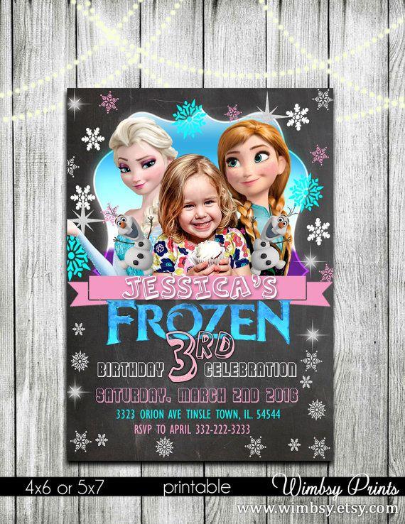 Frozen chalkboard invitation frozen elsa and anna frozen by Wimbsy