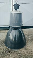 ANTIQUE INDUSTRIAL BLUE ENAMEL RETRO MIDCENTURY FACTORY 1950s LAMPS LIGHT E27