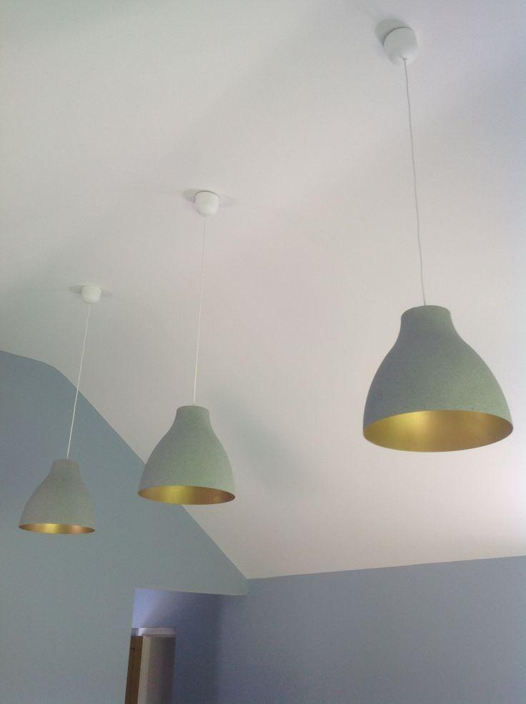 Ikea hack. Melodi white plastic lampshades transformed