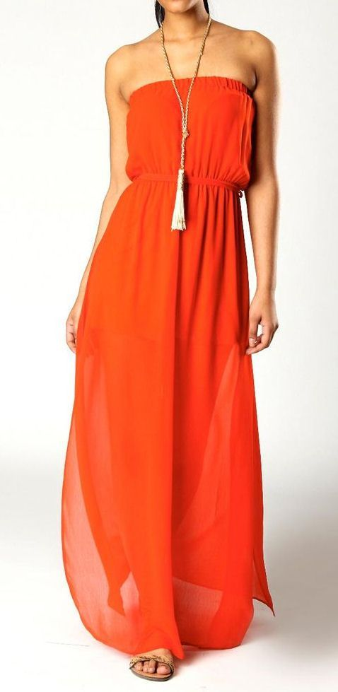 Orange Crush Bandeau Maxi Dress