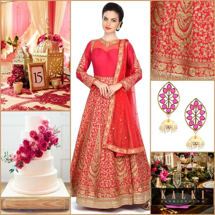 Dress up glamorously in the royal and floral styles in the Rose Pink Anarkali Suit in intricate zardosi work.  Design your wedding to suiting the royal gold and floral pink with aesthetic decorations and dining. Sweeten your celebration with the cake. - See more at: http://www.kalkifashion.com/blogs/color-splashed-weddings/#sthash.arvwjUdN.dpuf