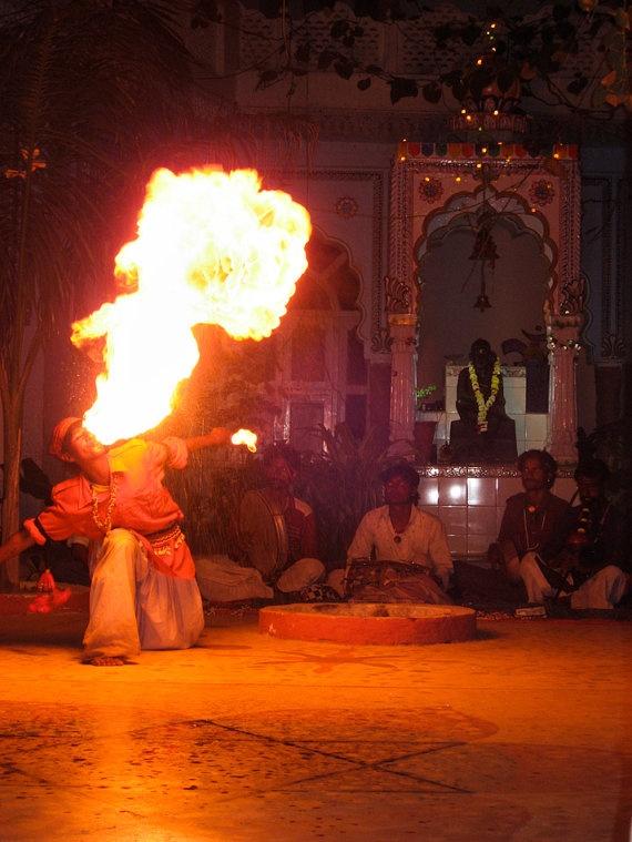 Fire Breathing Gypsy Pushkar Rajasthan India 8X10 Photograph chamelagiri.etsy.com