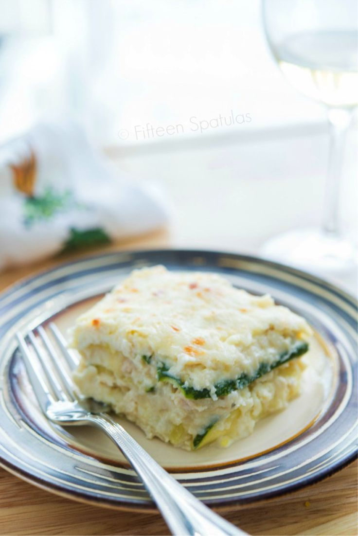 Zucchini Noodle White Chicken Lasagna. Lasagna without noodles is possible! @fifteenspatulas