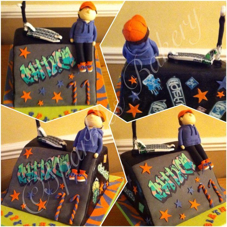 Skate ramp scooter cake