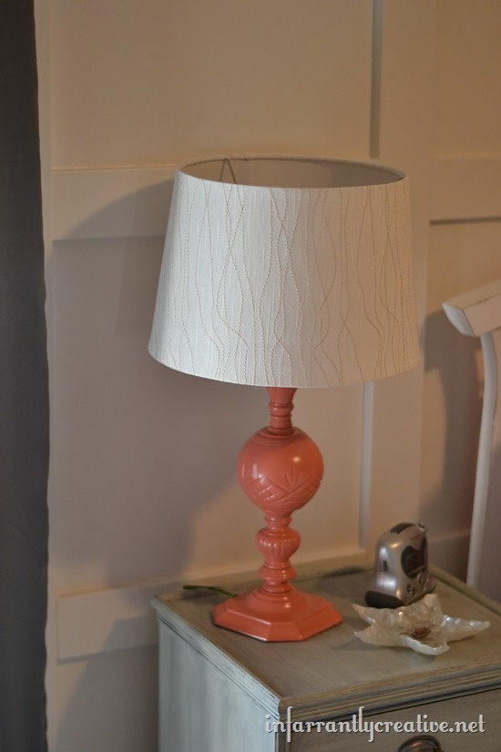 Lamp makeover using Krylon Coral Isle spray pain