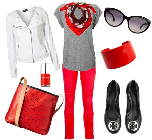 Red Skinnies With White Biker Jacket