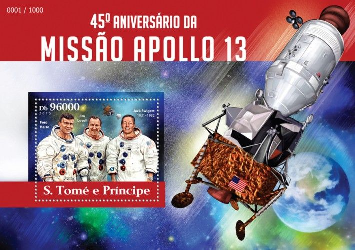ST15316b 45th anniversary of Apollo 13 mission (Fred Haise, Jim Lovell, Jack Swigert (1931–1982))
