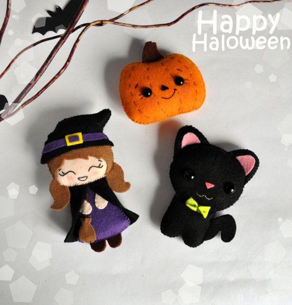 Halloween SET of 3 cute felt ornaments Halloween by MyMagicFelt