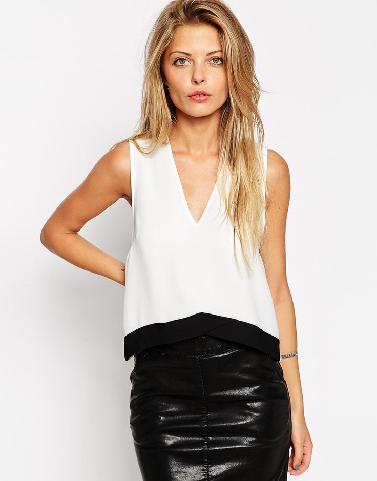 ASOS V Hem Shell Top With Colour Block Hem