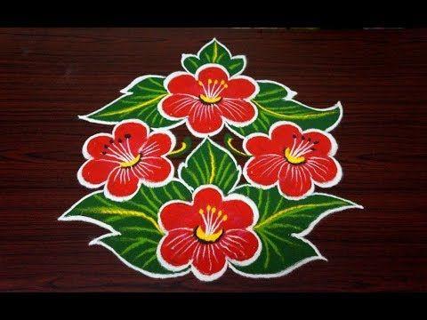 Beautiful flower rangoli design || simple rangoli designs with 7x4 dots || beginners kolam designs - YouTube