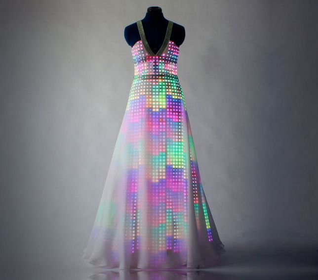 "With smart textiles we can ""download new colours or patterns"" to our clothes  Aurora dress by CuteCircuit"