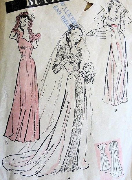 1940s ROMANTIC WEDDING GOWN BRIDAL DRESS PATTERN LONG TORSO STYLE, SWEETHEART NECKLINE, ABSOLUTELY BEAUTIFUL BUTTERICK 3174
