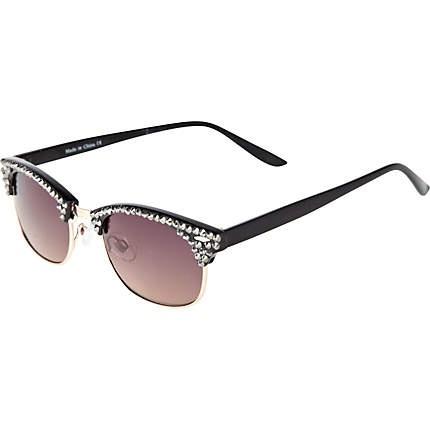 River Island Black Diamante Frame Retro Sunglasses A Bit ...