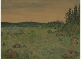 Veikko Vionoja (V. Laine): pirunpelto, 1928, vesiväri, 30x40 cm - Hagelstam A133