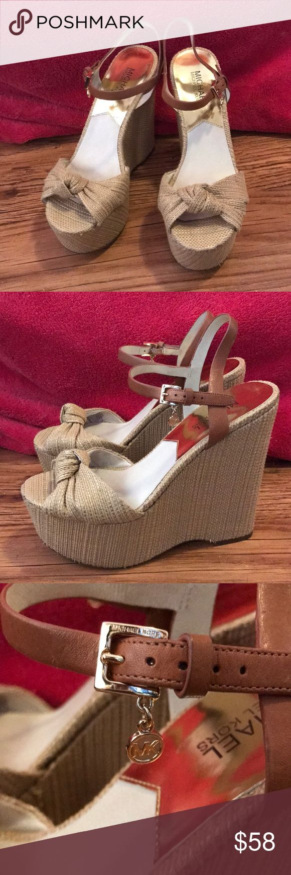 Michael Kors Wedges Worn a few times, but only noticeable on the bottom. Excellent condition. Super comfortable. Hate to part with them but they're great! for Las Vegas pool parties or weddings or brunch. Bought at marshalls for 50 Michael Kors Shoes Wedges