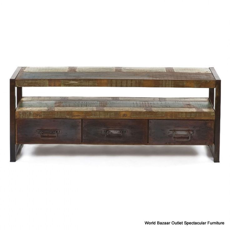 """58"""" L Console Table Plasma Stand 3 Drawers Oxidized Iron Reclaimed Wood Rustic"""