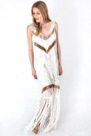 IXIAH DARK ROMANCE CROCHET DRESS IN WHITE