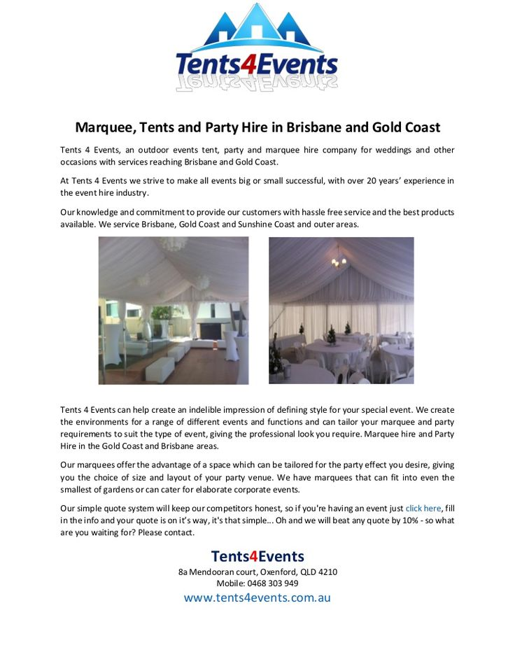 Tents 4 Events, an outdoor events tent, party and marquee hire company for weddings and other occasions with services reaching Brisbane and Gold Coast.