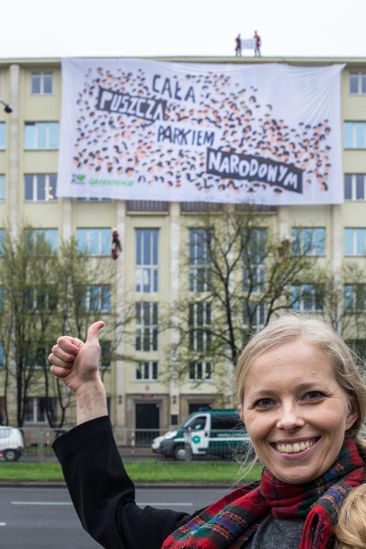 """Aktywistki i aktywiści Greenpeace, w imieniu wszystkich Obrońców Puszczy, wspięli się na Ministerstwo Środowiska i rozwinęli baner z hasłem """"Cała Puszcza parkiem narodowym"""". W ten sposób apelują o jedyny skuteczny ratunek dla Puszczy Białowieskiej: objęcie całego jej obszaru parkiem narodowym. www.kochampuszcze.pl #białowieża #bialowieza #puszczabialowieska"""