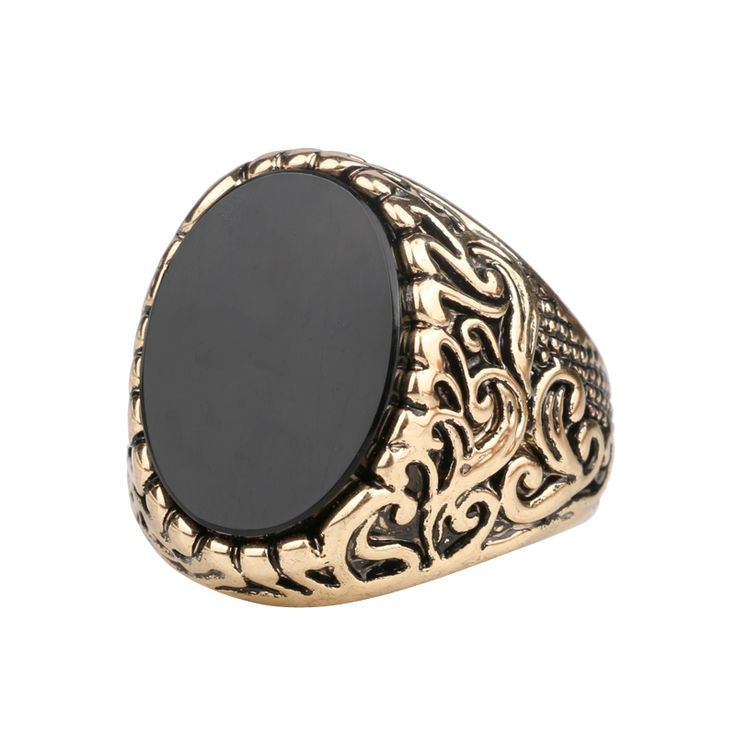 Hot 2015 Vintage Look Black Stone Gold Rings For Women Turkish Fashion Decorative Pattern Punk Ring Turquoise Anillos
