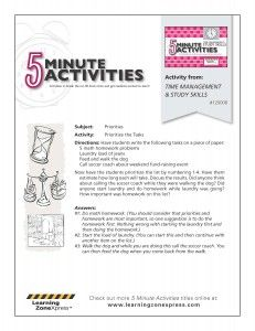 5 Minute Activity: Time Management & Study Skills