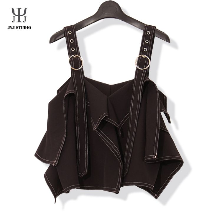 Aliexpress.com : Buy Black Asymmetrical Top Sexy Ribbons Short Sling Top Tank Women  Splicing Double Track Vintage Bandage Top Strap Top Femme from Reliable strap pad suppliers on JYJ STUDIO