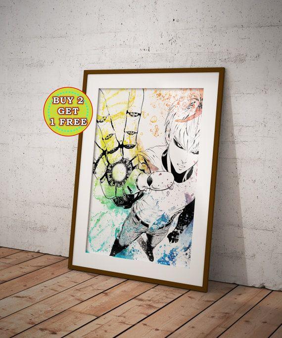 One Punch Man One Punch Man Poster Saitama Genos by OtakuCave