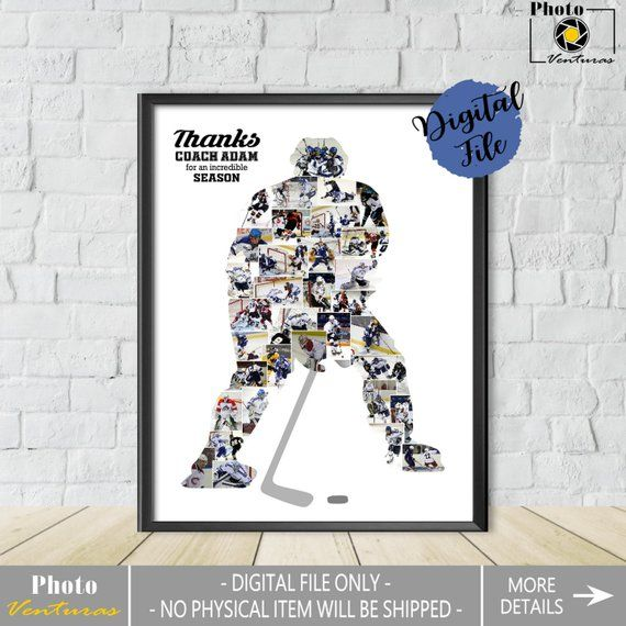 Ice Hockey Photo Collage Gift For Coach Hockey Player Collage Sport Photo Collage Ice Hockey Coach Gift Printable Collage Custom Collage Photo Collage Gift Custom Collage Hockey Coach Gifts