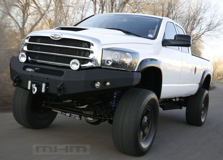 white lifted-Dodge ram truck. www.CustomTruckPartsInc.com is one of the largest Truck accessories retailer in Western Canada #CustomTruckParts #pickups #pickuptruck Custom Truck Parts