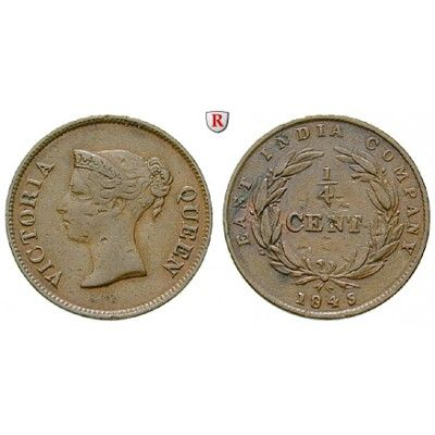 Straits Settlements, Victoria, 1/4 Cent 1845, ss+: Victoria 1837-1901. Kupfer-1/4 Cent 1845. East India Company. KM 1; sehr schön +… #coins