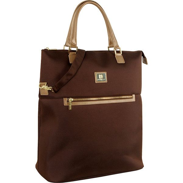 """Anne Klein Luggage Overnite 20"""" Fold Over Tote (3.520 RUB) ❤ liked on Polyvore featuring bags, handbags, tote bags, brown, luggage, luggage totes and satchels, foldable tote, brown satchel handbag, brown satchel purse and brown satchel bag"""