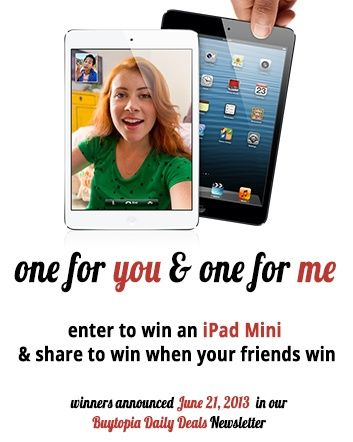 Check out this amazing deal: iPad Mini Giveaway - One for You & One for Me! Enter to win an iPad Mini & share to win when your friends win!
