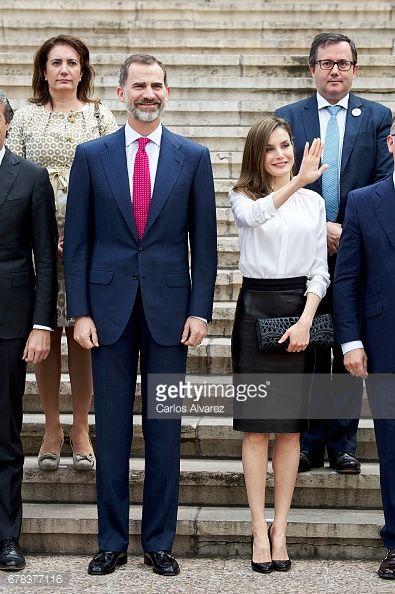 King Felipe VI of Spain and Queen Letizia of Spain attend the opening of 'Escripta. Tesoros Manuscritos de la Universidad de Salamanca' exhibition at the National Library on May 4, 2017 in Madrid,...