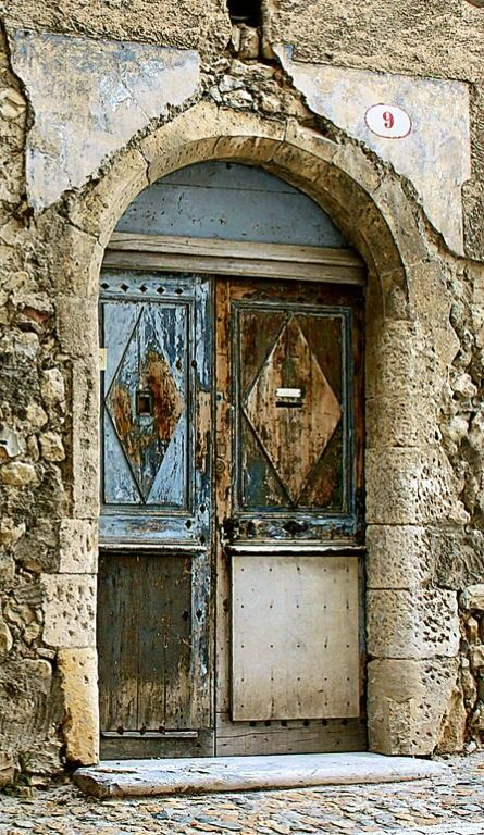 Ardèche ~ France, old wooden door, entrance, doorway, portal, details, ornaments, beauty, weathered, aged, cracks, curves, architechture, photo