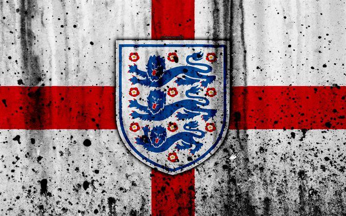Download wallpapers England national football team, 4k, emblem, grunge, Europe, football, english flag, stone texture, soccer, England, European national teams