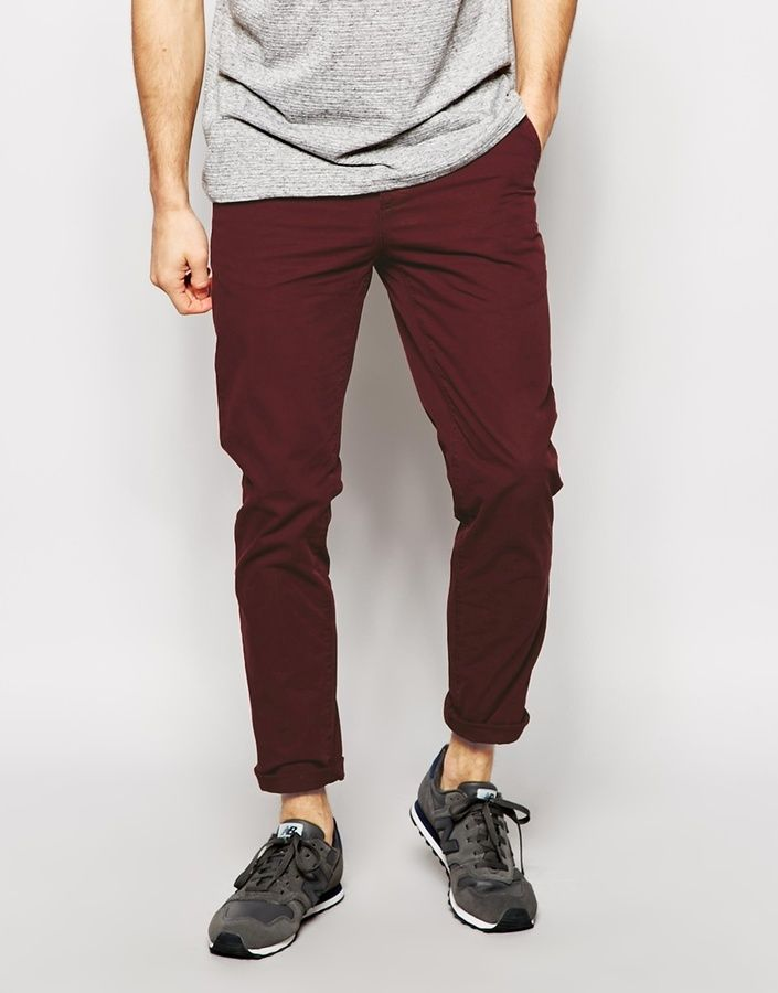 $33, Burgundy Chinos: Asos Brand Slim Chinos. Sold by Asos. Click for more info: https://lookastic.com/men/shop_items/206985/redirect