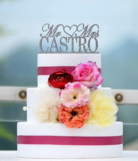 Wedding Cake Topper Monogram Mr and Mrs cake Topper by bridenew