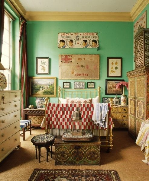 faded sea foam in a vintage bedroomDecor, Guest Room, Wall Colors ...