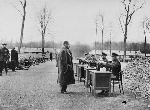 Holocaust: Photograph of Registration of Prisoners Upon Arrival at Buchenwald Concentration Camp