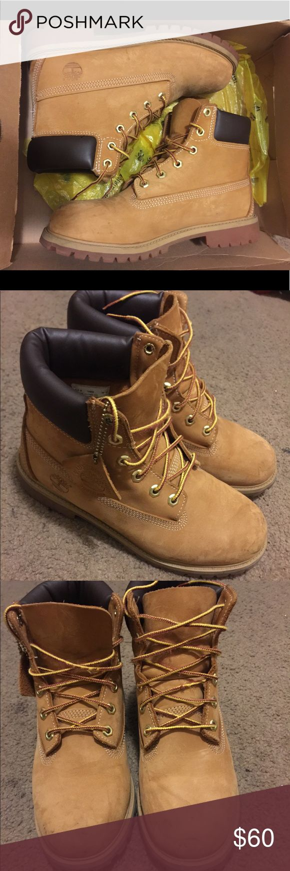 WHEAT TIMBERLAND BOOTS Size 6.5 Wheat Timberland Boots A couple of small marks, scuffs, and signs of normal wear but other than that they're in good condition. COMES IN OG BOX AS WELL Timberland Shoes Boots